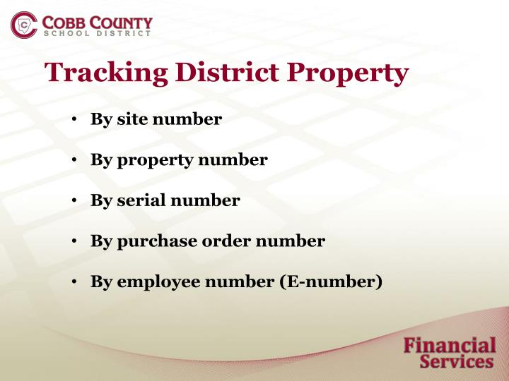 Tracking District Property