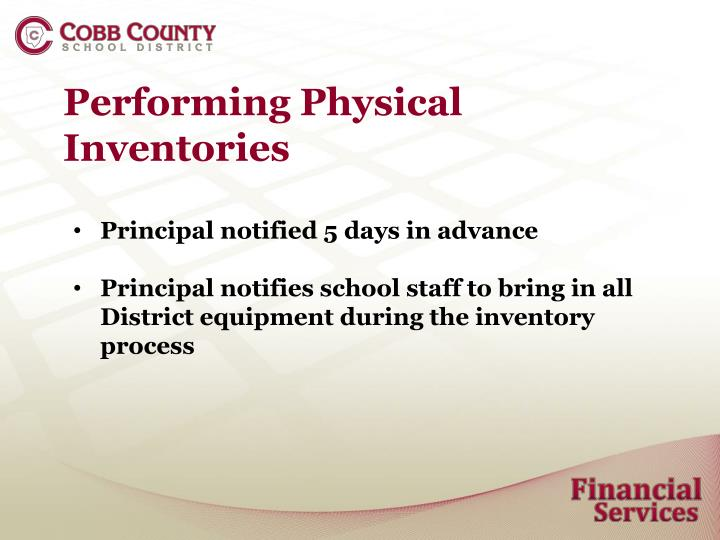 Performing Physical Inventories