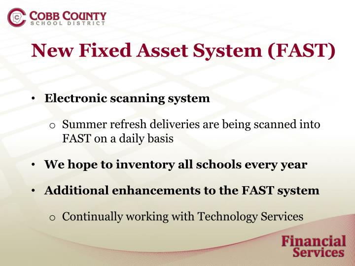 New Fixed Asset System (FAST)