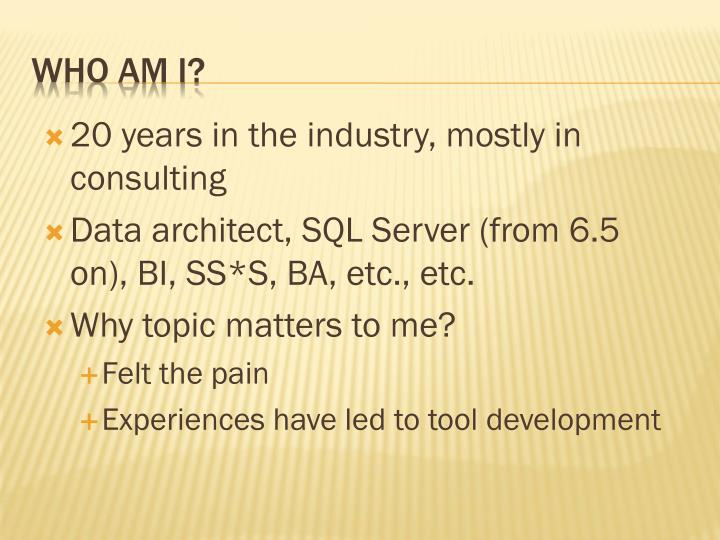 20 years in the industry, mostly in consulting