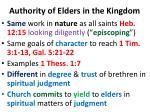 authority of elders in the kingdom