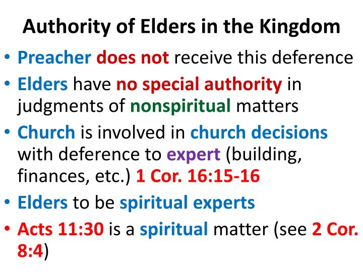 Authority of Elders in the Kingdom