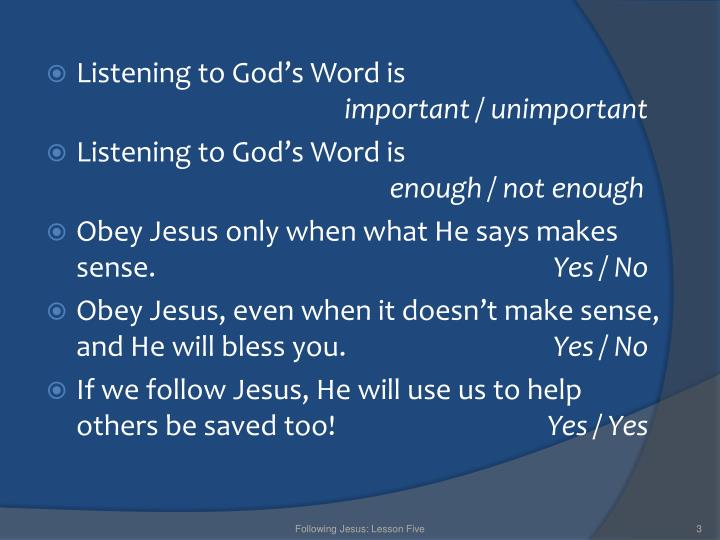 Listening to God's Word is