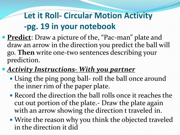 Let it Roll- Circular Motion Activity