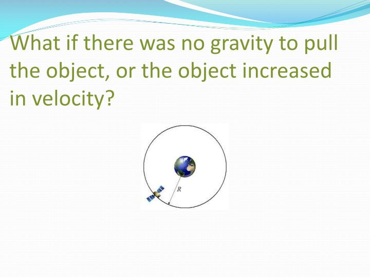 What if there was no gravity to pull the object, or the object increased in velocity?
