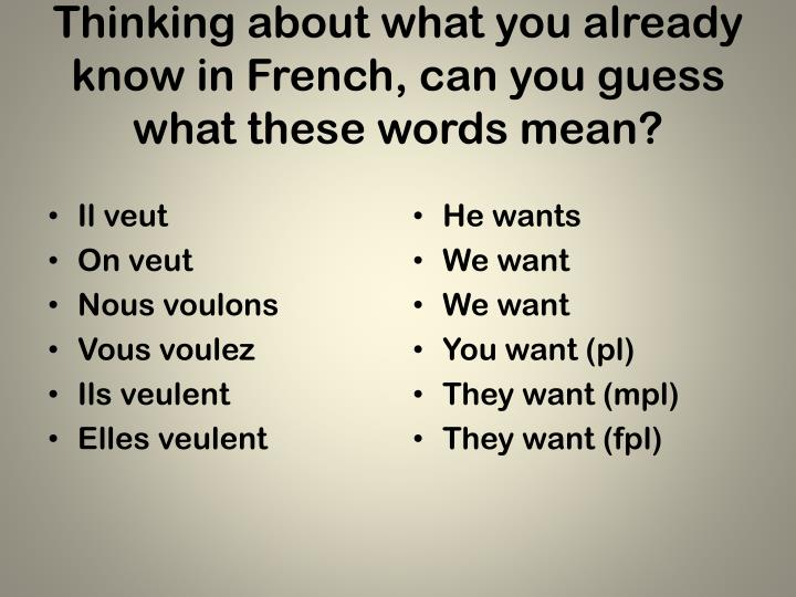 Thinking about what you already know in French, can you guess what these words mean?