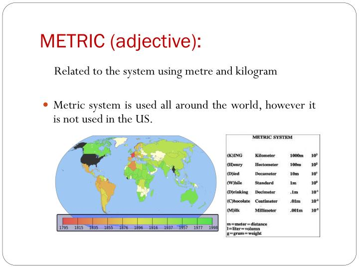 METRIC (adjective):