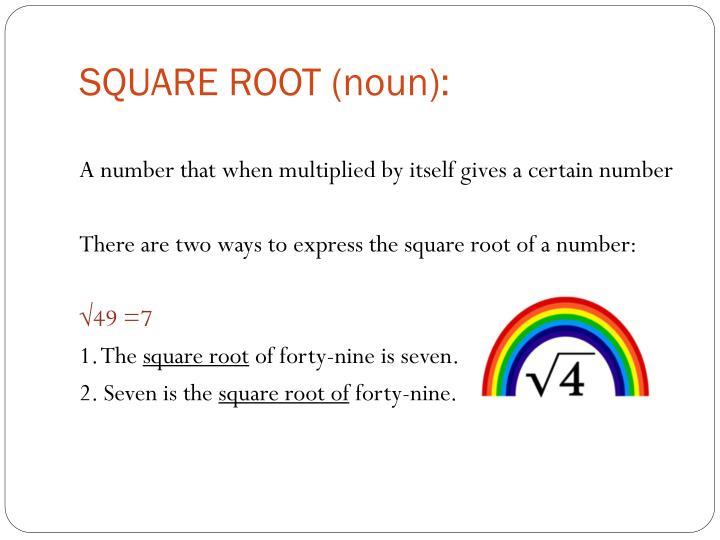 SQUARE ROOT (noun):