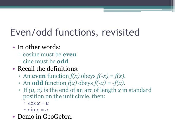 Even/odd functions, revisited