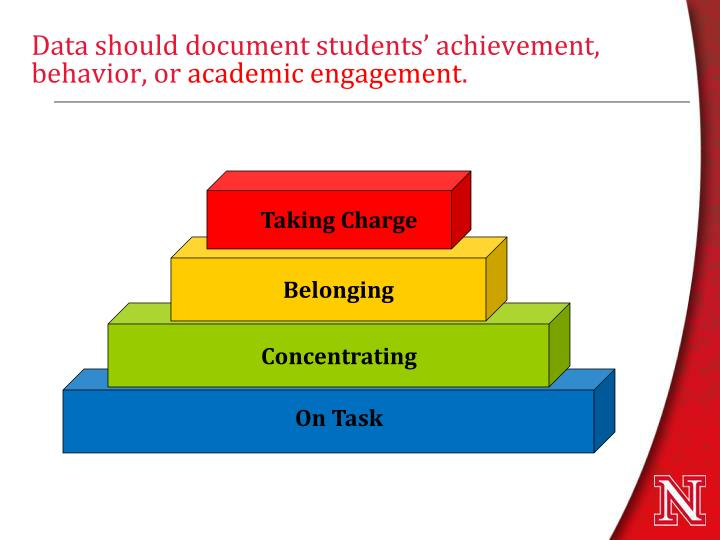 Data should document students' achievement, behavior, or