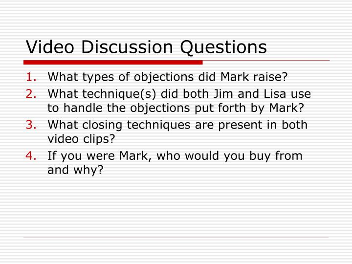 Video Discussion Questions