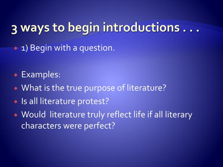 3 ways to begin introductions . . .