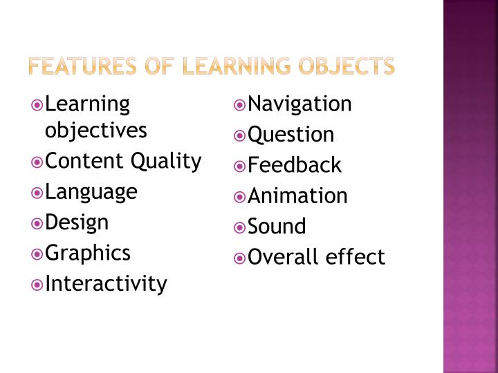 Features of learning objects