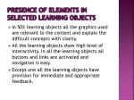presence of elements in selected learning objects1