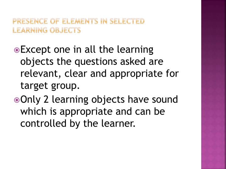 Presence of elements in selected Learning objects