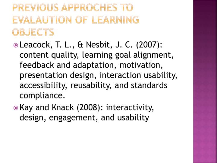 Previous approches to evalaution of learning objects1