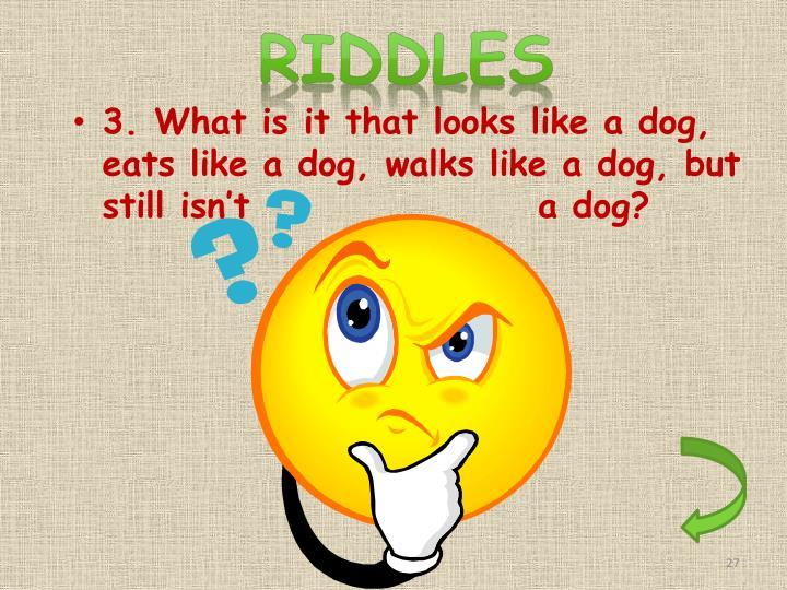 3. What is it that looks like a dog, eats like a dog, walks like a dog, but still isn't                   a dog?