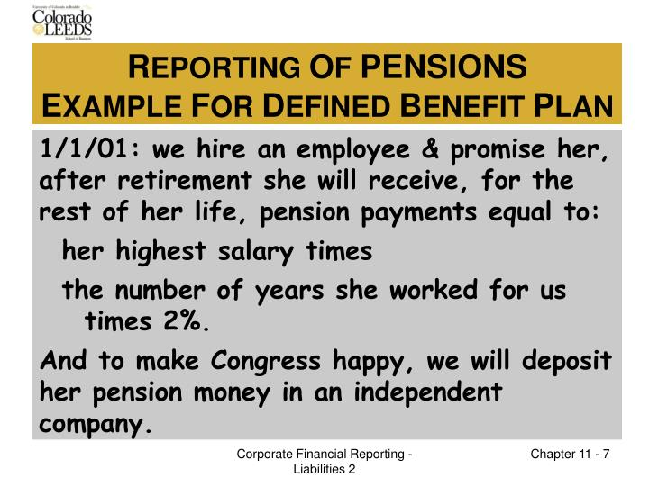 1/1/01: we hire an employee & promise her, after retirement she will receive, for the rest of her life, pension payments equal to: