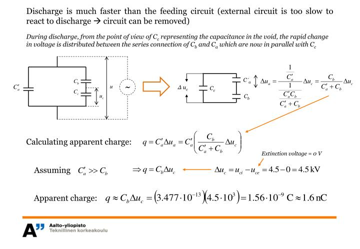 Discharge is much faster than the feeding circuit (external circuit is too slow to react to discharge