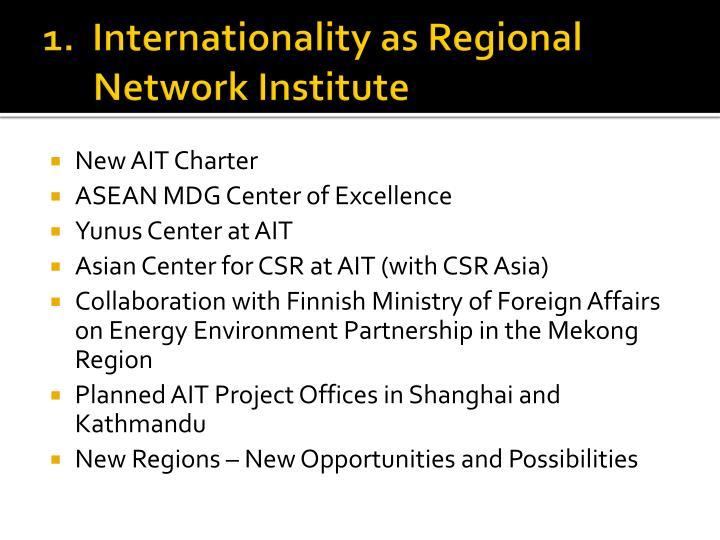 1.  Internationality as Regional Network Institute