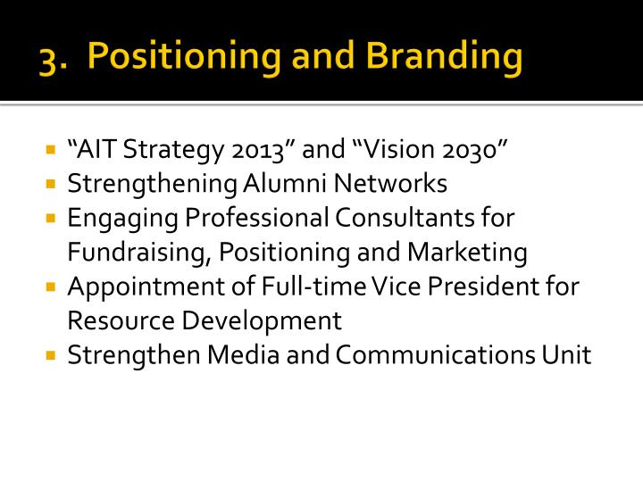 3.  Positioning and Branding