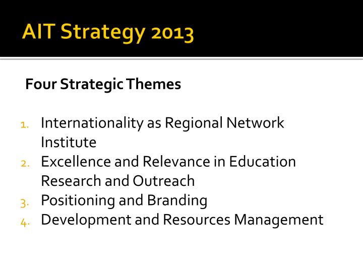 AIT Strategy 2013