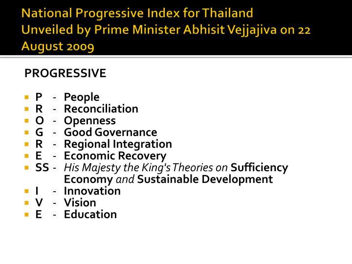 National Progressive Index for Thailand