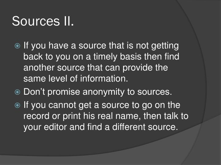 Sources II.