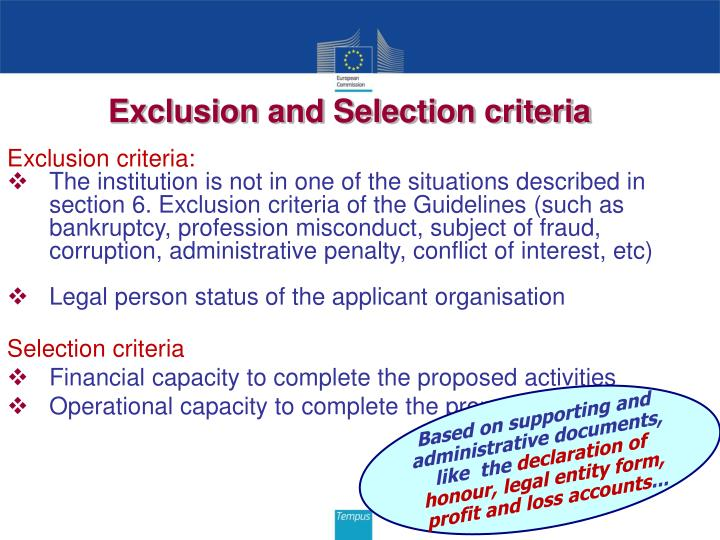 Exclusion and Selection criteria