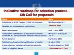 indicative roadmap for selection process 6th call for proposals