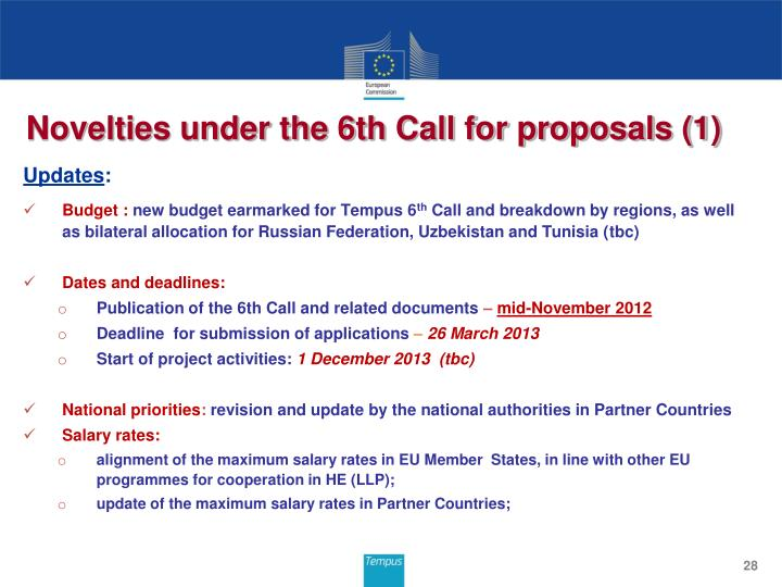 Novelties under the 6th Call for proposals (1)