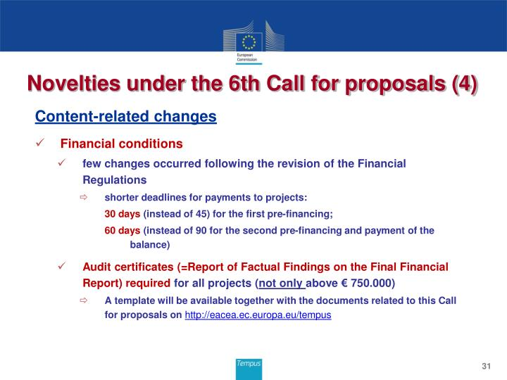 Novelties under the 6th Call for proposals (4)