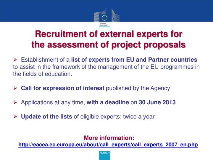 Recruitment of external experts for