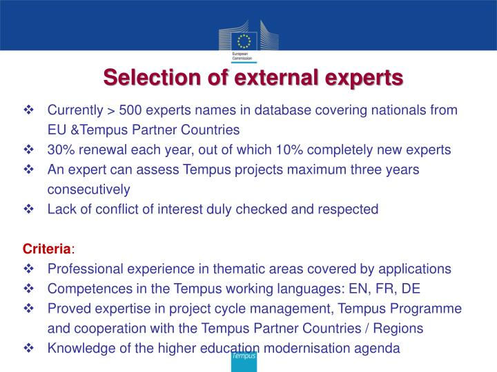 Selection of external experts