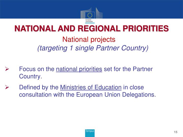 NATIONAL AND REGIONAL PRIORITIES