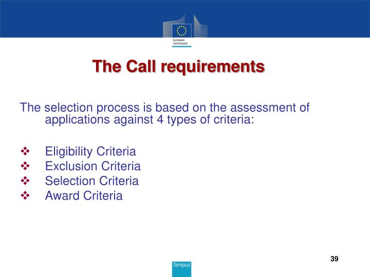 The Call requirements