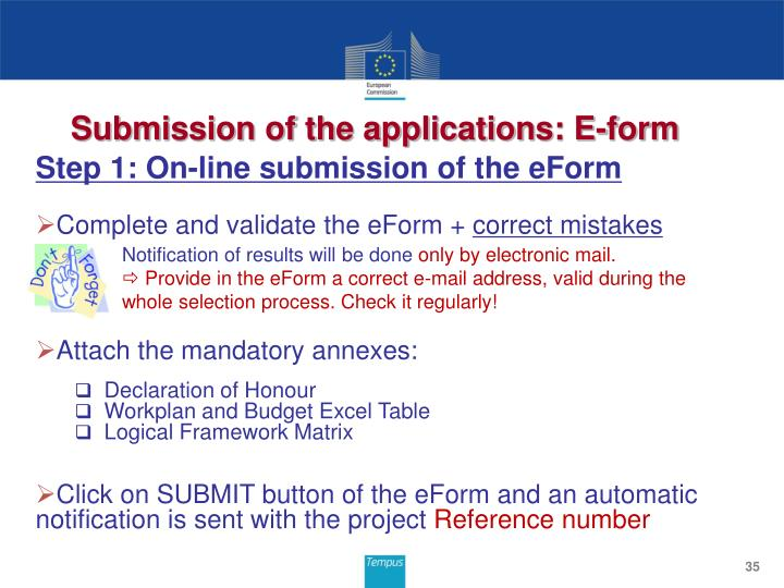 Submission of the applications: E-form