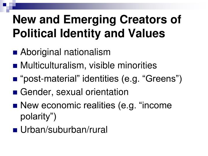 New and Emerging Creators of Political Identity and Values