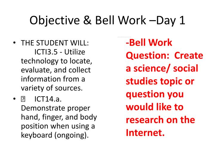 objective bell work day 1