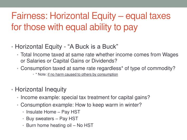 Fairness: Horizontal Equity – equal taxes for those with equal ability to pay