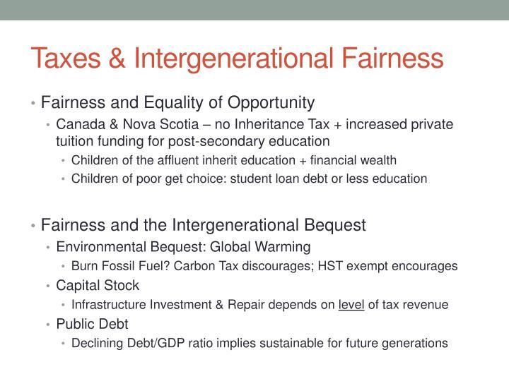 Taxes & Intergenerational Fairness