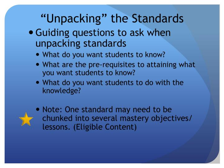 """Unpacking"" the Standards"