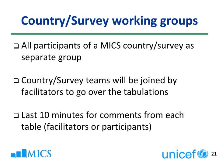 Country/Survey working groups