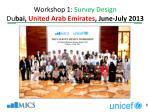 workshop 1 survey design du bai united arab emirates june july 2013