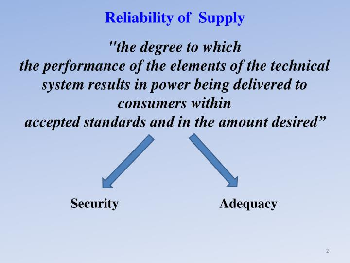 Reliability of  Supply