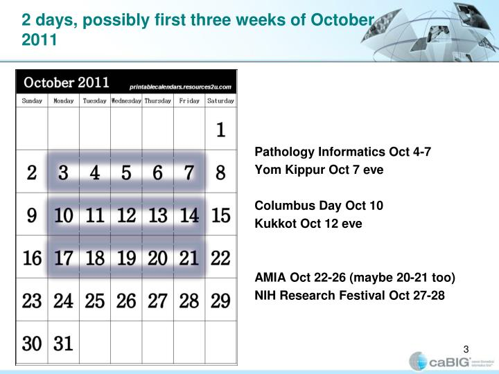2 days, possibly first three weeks of October 2011