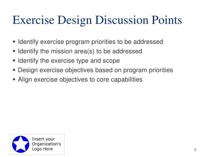 Exercise Design Discussion Points
