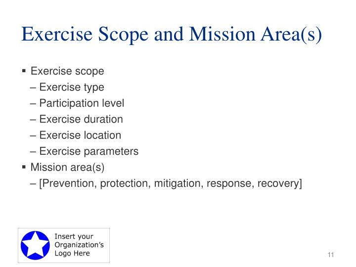 Exercise Scope and Mission Area(s)