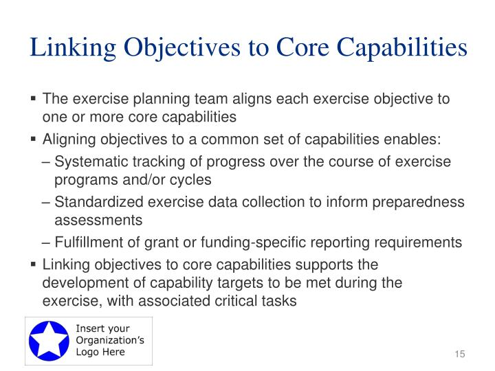 Linking Objectives to Core Capabilities