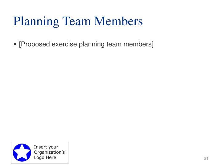 Planning Team Members
